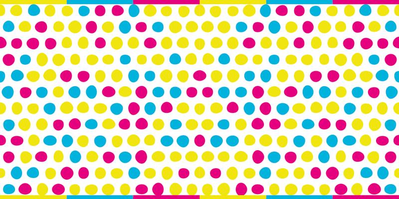 TenStickers. Dywan winylowy Kolorowe kropki. Dywanik winylowy w kropki z wzorem różnych kropek w kolorze żółtym, różowym i niebieskim. +10 000 zadowolonych klientów teraz.