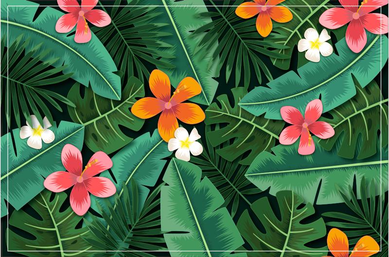 TenStickers. Dywan winylowy z kwiatów i liści dżungli. Dywan winylowy z wzorem tropikalnych liści. Zawiera różowe i pomarańczowe kwiaty na tle tropikalnych zielonych liści. wykonana z wysokiej jakości materiałów.