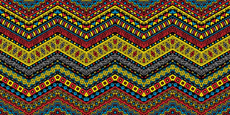 TenStickers. Covoare colorate de vinil în stil etnic tribal. Covor colorat din vinil care prezintă un model tribal uimitor în multe culori strălucitoare. Material extrem de durabil.