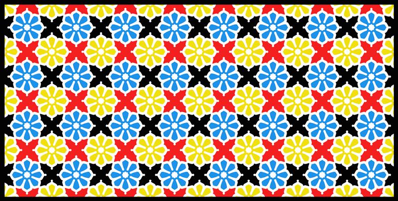 TenStickers. çiçek renkli karo vinil halı. Fayans gibi görünecek şekilde düzenlenmiş güzel bir çiçek desenine sahip karo vinil halı. Her zaman yüksek kaliteli malzemeler kullanılır.