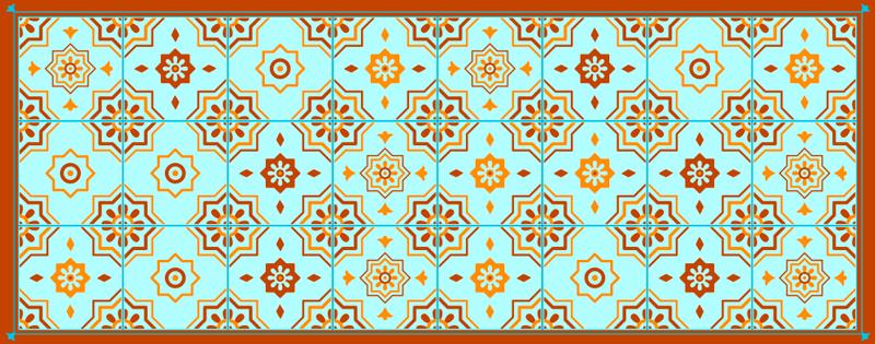 TenStickers. Covor din vinil cu plăci de mozaic portocaliu și albastru. Covor de vinil cu plăci care prezintă un model uimitor de mozaic împărțit între diferite plăci unice. La comandă la comandă. Calitate superioară.