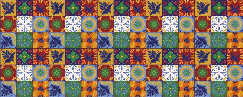 TenStickers. Pardoseli de bucătărie colorate mexicane. Covor de vinil cu plăci mexicane. Modelul constă din plăci roșii, portocalii, verzi și albe cu un model cu tematică mexicană. Din vinil de înaltă calitate.