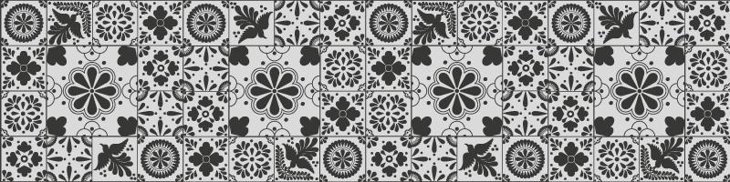 TenStickers. μαύρο και κρεμ πλακάκια δαπέδου κουζίνας. χαλί βινυλίου με γκρι πλακάκια. αυτό το μοτίβο δείχνει διαφορετικά αφηρημένα πλακάκια σε όλες τις αποχρώσεις του γκρι. λεπτή και κομψή διακόσμηση για την κουζίνα σας.
