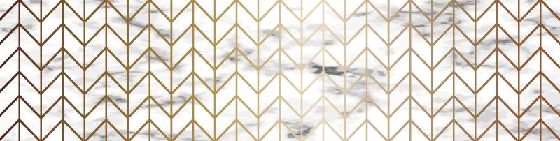 TenStickers. Geometryczny dywan winylowy do kuchni ze złota i marmuru. Kuchenny marmurowy dywan winylowy z błyszczącym geometrycznym złotym wzorem otoczonym czarno-białym marmurkowym tłem.