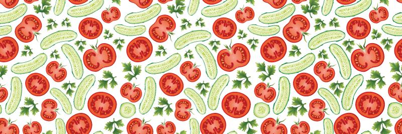 TenStickers. Covor de vinil pentru bucătărie verde și roșu. Covor de vinil de bucătărie care prezintă diverse imagini de fructe și legume verzi și roșii, inclusiv castraveți, roșii și pătrunjel.