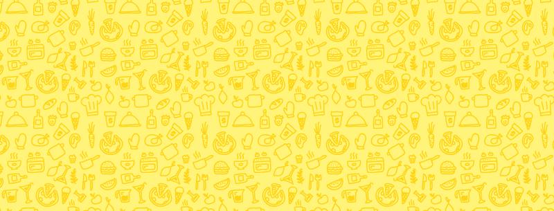 TenStickers. 黄色的厨房图案厨房乙烯基地毯. 厨房乙烯基地毯,带有许多不同类型食物的图纸,例如汉堡,西瓜和比萨饼。高质量。