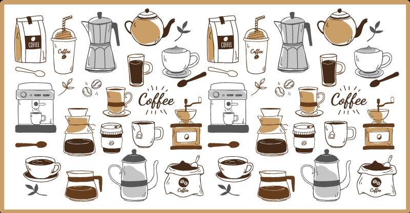Tenstickers. Kaffe elsker kjøkken vinyl teppe. Kaffe vinylteppe som har et mønster av forskjellige kopper kaffe og kaffetraktere som vannkokere og kaffemaskiner.