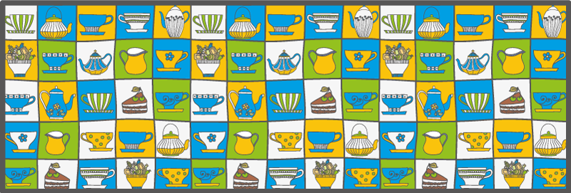 TenStickers. Afternoon Tea Tile kitchen vinyl rug. Afternoon tea vinyl rug which features a brilliant pattern of all things to do with Afternoon tea. High quality materials.