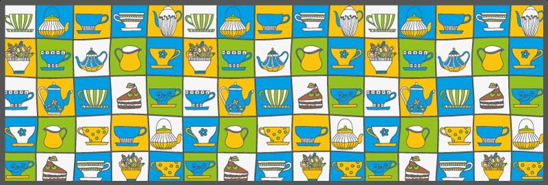 TenStickers. Covor de vinil de bucătărie cu faianță de ceai. Covor de vinil cu ceai de după-amiază, care prezintă un model strălucitor al tuturor lucrurilor de făcut cu ceaiul de după-amiază. Materiale de înaltă calitate.