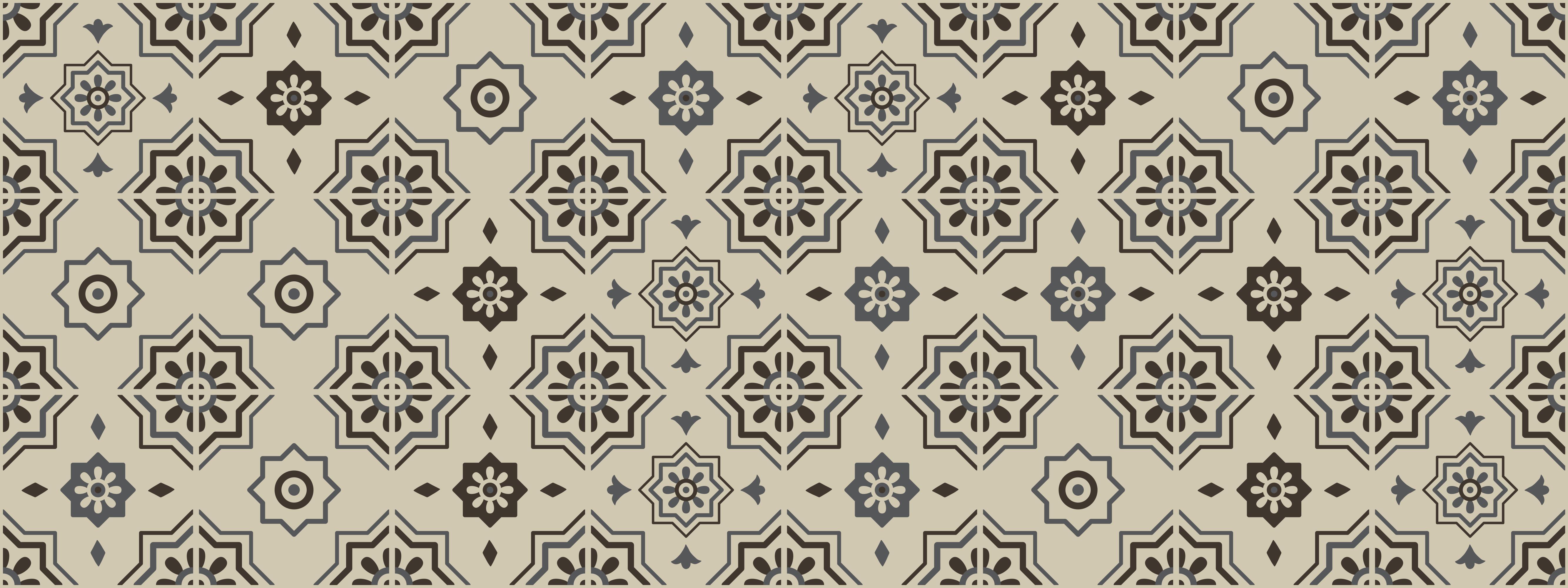 TenVinilo. Alfombra vinilo cocina azulejos vintage. Alfombra vinilo cocina con adornos retro. El patrón muestra adornos florales sobre un fondo beige. Está hecho de material de alta calidad.