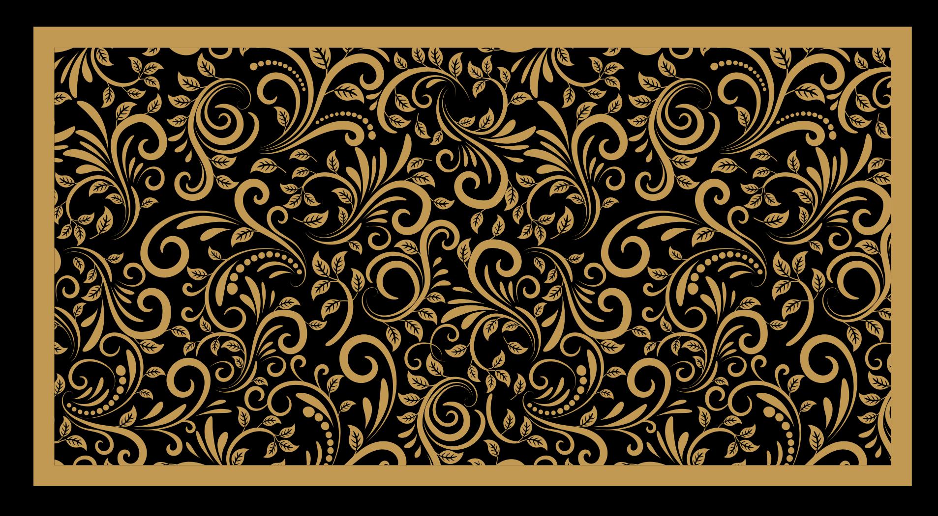 TenStickers. Dywan vintage winylowy Tradycyjny wzór. Dywan winylowy ze złotymi zdobieniami. Prezentuje złote zdobienia na czarnym tle i będzie doskonałą ozdobą Twojej kuchni.