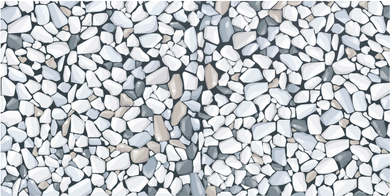 TenStickers. Dywan winylowy Białe kamienie. Winylowy dywanik do kuchni z rysunkowym wzorem skał w różnych odcieniach szarości, bieli, brązu i czerni na czarnym tle.