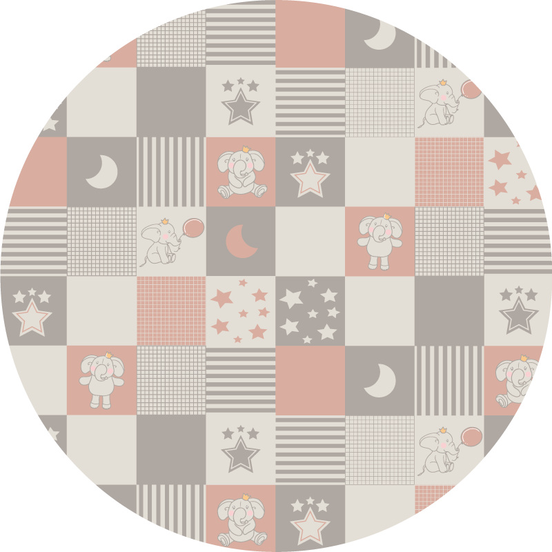 TenStickers. Circular nordic tiles elephants kids vinyl carpet. A circular  bedroom vinyl rug with a design of small children's elephants in pastel colors perfect for decorating the place in a tender and sweet way