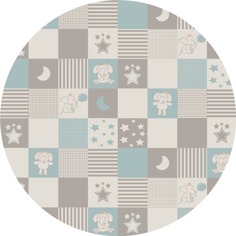 TenStickers. Circular Nordic tiles with elephants kids vinyl carpet. Round-tip vinyl carpet for children hosting amazing design fascinating to children. On the carpet are featured designs such as space elements, tiles.