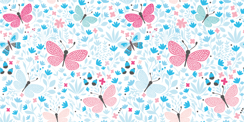 TenStickers. Blue motifs pink colour kids vinyl carpet. Multicolored patterned vinyl carpet containing designs of ornamental flowers and butterflies. It is manufactured with quality vinyl.