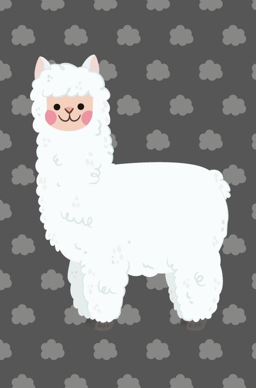 TenStickers. Dywan winylowy dla dzieci Nordycka lama. Udekoruj podłogę w pokoju swojego dziecka naszym oryginalnym szarym dywanikiem winylowym dla dzieci nordic llama, aby upiększyć go w piękny sposób. Jest oryginalny.