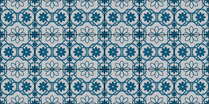 TenStickers. Dywan winylowy nowoczesny niebieski i biały. Wybierz rozmiar odpowiedni dla odcieni nowoczesnego niebieskiego dywanu z okrągłymi krawatami i dodaj go do koszyka. Zamów teraz! Dostawa do domu!
