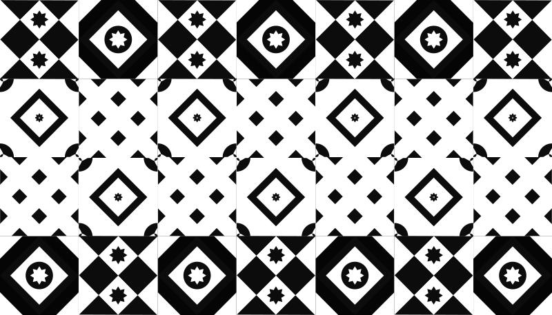 Tenstickers. Lappeteppe svart og hvitt moderne tepper. Fantastiske dekorative originale vinyl tepper i svart og hvitt for å gi et pent preg og transformasjon til rommet ditt. Hjemmelevering!