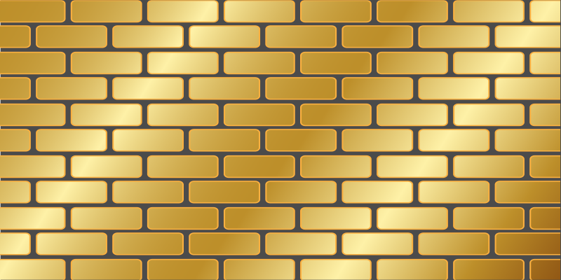 TenStickers. Gold brick wall illustration contemporary rugs. Golden colour brick wall illustration modern vinyl rug. The carpet would create a lovely and bright reflection on your space.