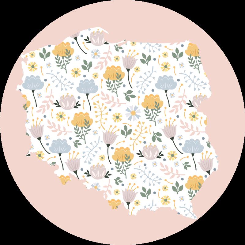 TenStickers. Dywan winylowy Mapa Polski z kwiatami. Udekoruj dowolne pomieszczenie w swoim domu tym abstrakcyjnym okrągłym dywanikiem winylowym w kwiaty z mapą polski i będziesz zadowolony, że to zrobiłeś. łatwe w utrzymaniu i trwałe.
