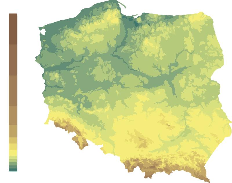 TenStickers. Dywan winylowy Hipsometryczna mapa Polski. świetna hipsometyczna mapa Polski dywan winylowy, który nie tylko chroni podłogę w Twoim pokoju, ale także wywołuje uśmiech na twarzy Twojego dziecka lub partnera.