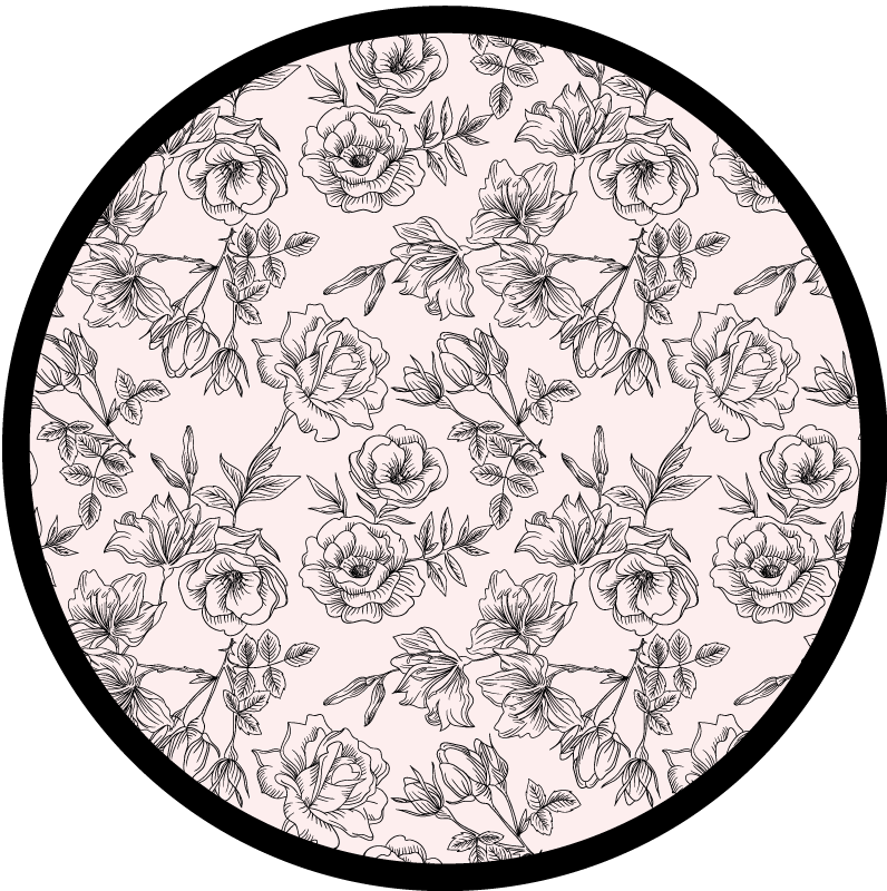 TenStickers. Black and White Floral Home Office Vinyl Rug. Black and white floral vinyl rug which features a beautiful pattern of intricately drawn flowers in black and white. Choose your size.