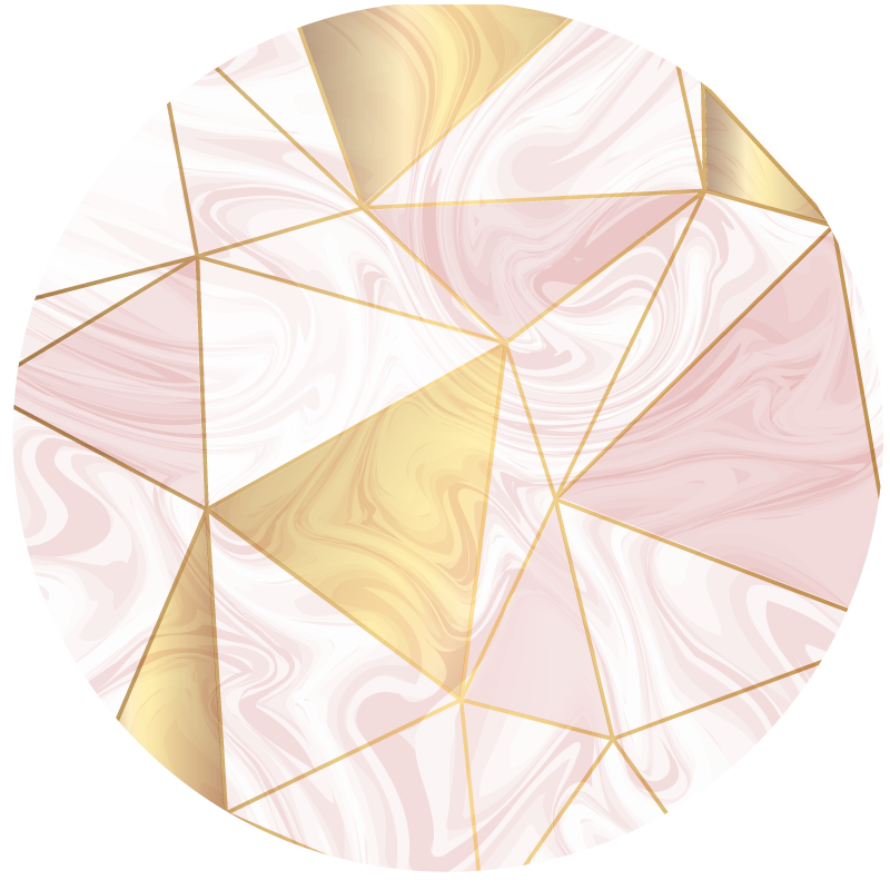 TenVinilo. Alfombra vinilo despacho polugons mármol. Una alfombra vinílica redonda en colores claros perfecta para darle un toque de elegancia y seriedad a tu oficina en casa.