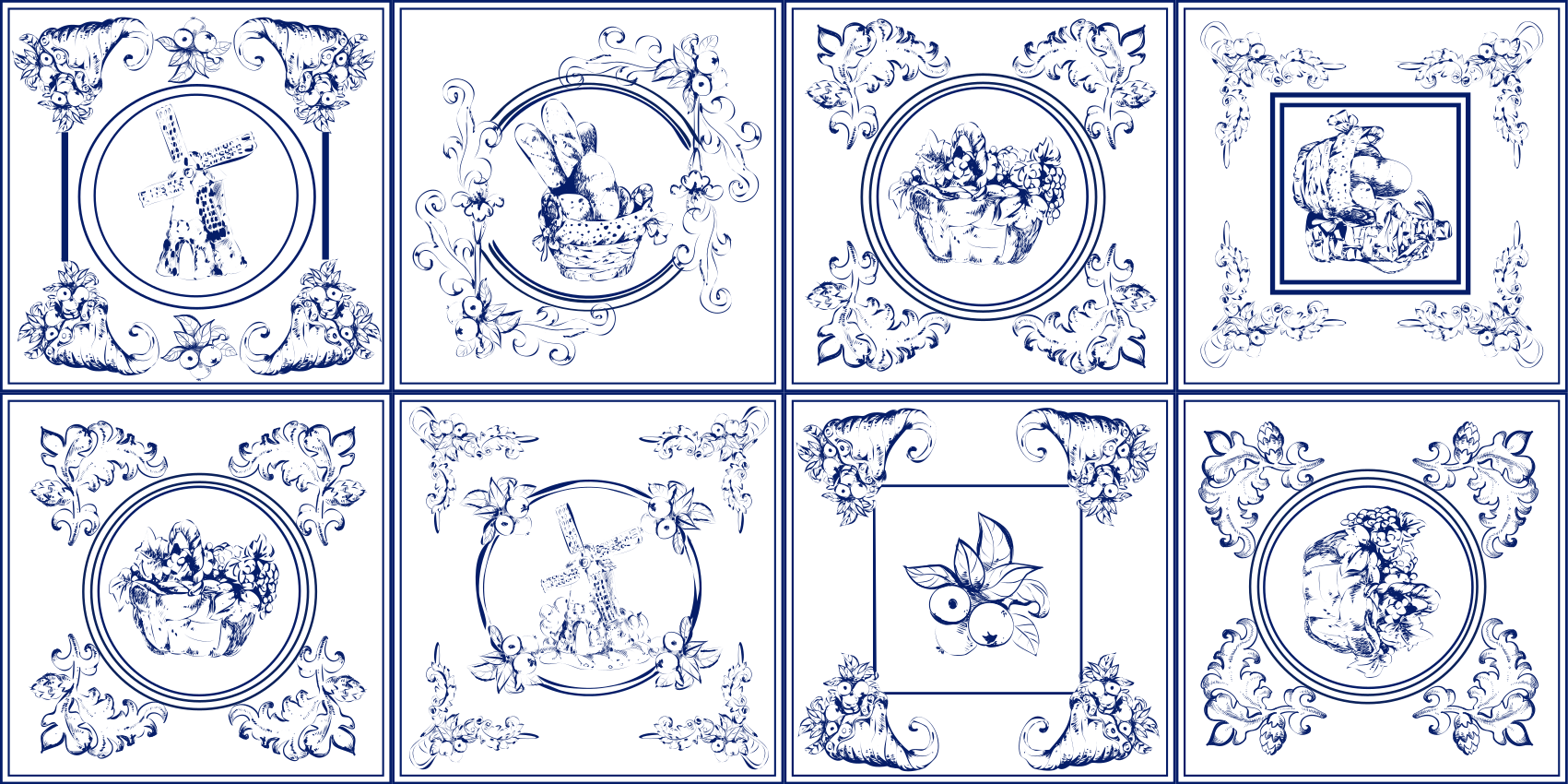 TenStickers. 复古蓝色瓷砖瓷砖垫. 老式乙烯基地板,您可以用白色背景的蓝色瓷砖设计来装饰您想要翻新的任何空间,完美呈现复古风格