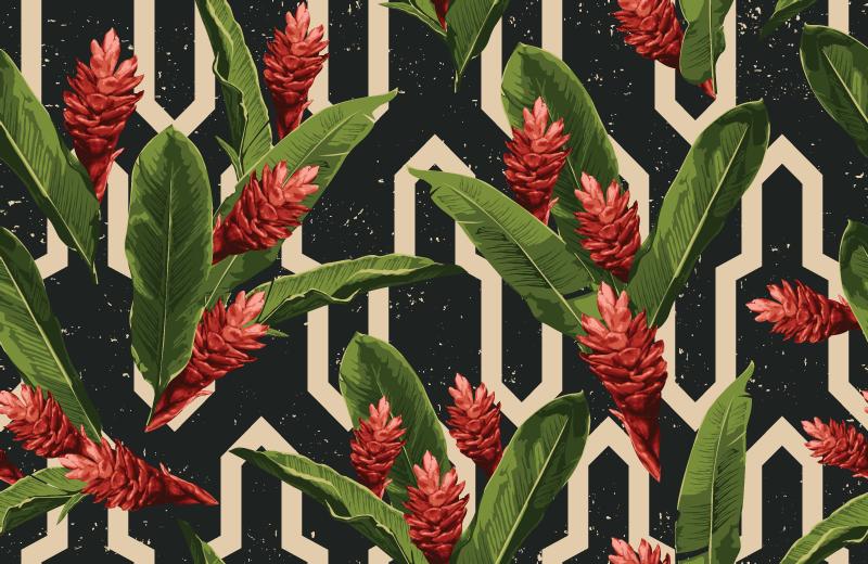 TenStickers. Covor vintage cu frunze tropicale cu flori. Covor floral cu fundal negru și ilustrație frunze tropicale în stil vintage, perfect pentru a vă reînnoi decorul din sufragerie.