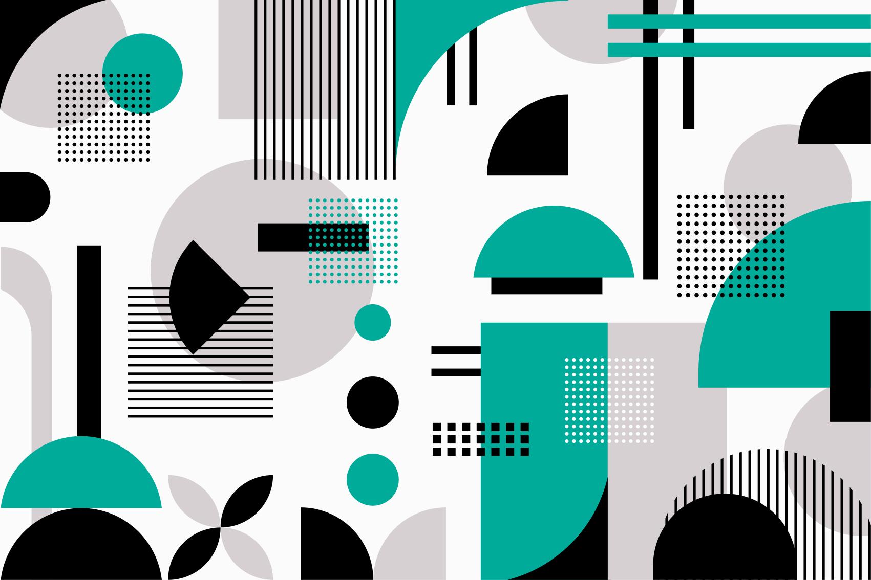 TenStickers. Tapete de vinil de forma geométrica moderna. Tapete de vinil geométrico que apresenta um padrão de várias formas abstratas sobrepostas e cruzadas. Escolha o seu tamanho.
