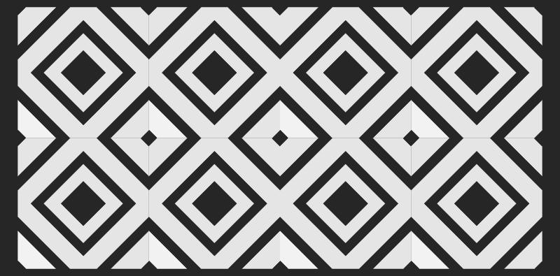 TenStickers. Dywan winylowy retro czarno biały kwadratowe romby. Dywan vintage w czarno-białe kwadratowe romby pasujący do każdej przestrzeni w domu. Jest trwała, wytrzymały i oryginalny. łatwe w utrzymaniu i trwałe.