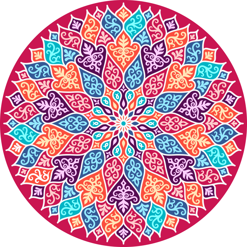TenStickers. Wielokolorowy dywan winylowy mandala. Wielokolorowy dywan winylowy z mandalą, który ożywi każdą przestrzeń, nadając jej jasny i olśniewający wygląd. Jest trwała i łatwy w utrzymaniu.