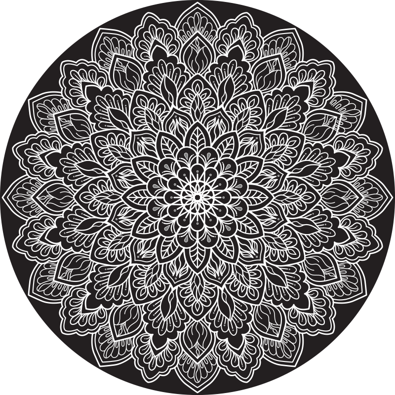 TenStickers. Black and white mandala mandala vinyl mat. You would fall in love with the way this black and white mandala mandala vinyl rug would enhance you space. It is easy to maintain and durable.