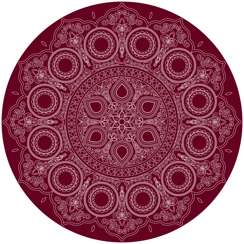 TenStickers. Lotus flower mandala vinyl mat. Round-tip lotus flower mandala vinyl rug prefect to decorate any area in a house. It has a lovely patterned mandala design on solid red background.