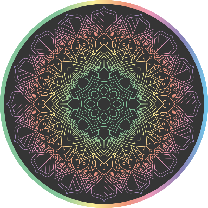 TenVinilo. Alfombra vinilo mandala de arcoíris. Diseño de alfombra vinilo mandala con fondo negro y de tonos arcoíris de forma redonda. Ideal para habitación o salón ¡Envío exprés!
