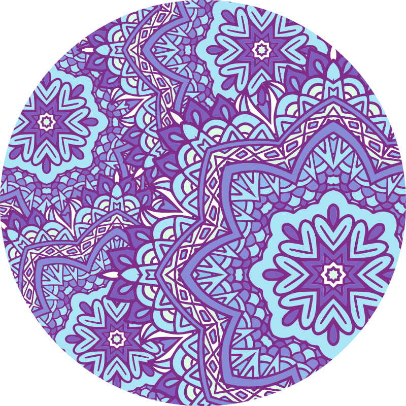 TenStickers. Blue and purple mandala vinyl mat. Give your home an exclusive ornamental look with our floor decoration mandala vinyl carpet. It is original, anti-slip, washable and durable.