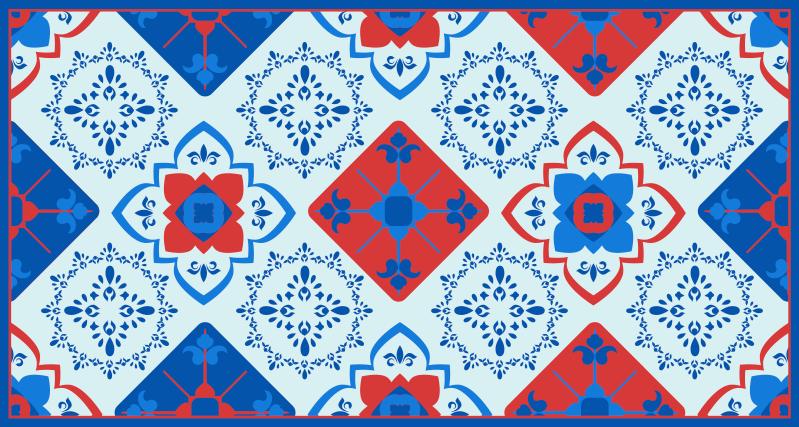 TenVinilo. Alfombra vinilo cocina floral azul y roja. Hermosa alfombra vinilo cocina con un increíble y colorido diseño de flores estampadas. Ideal  para cocina, dormitorio y cualquier otra estancia