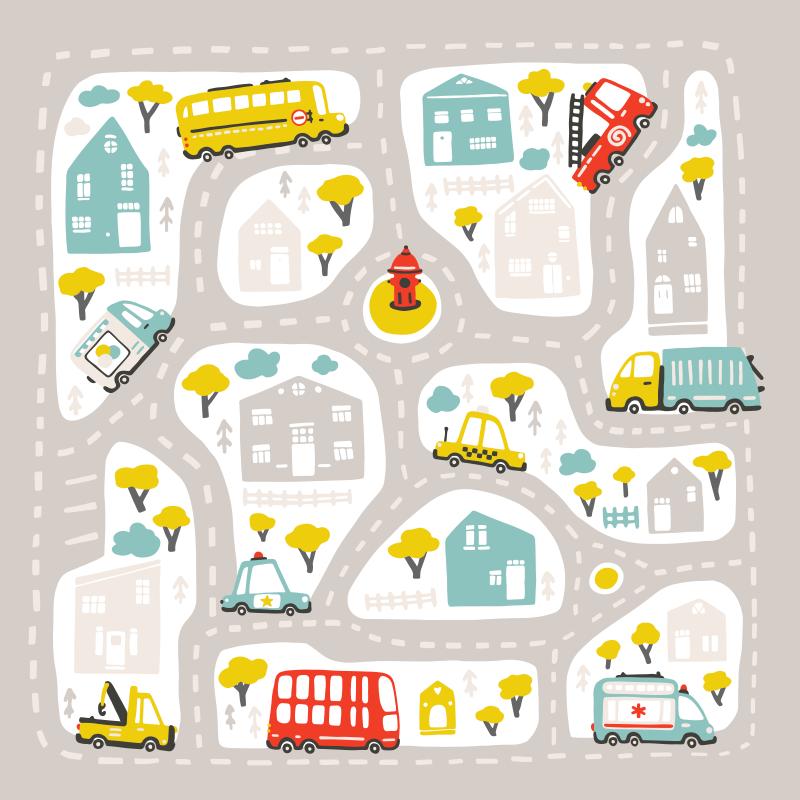 TenStickers. Tapete urbano estilo nórdico. Imagine o quão feliz seu filho se sentiria sentado ou brincando neste tapete de vinil infantil caracterizado por vários designs ilustrativos amados por crianças.