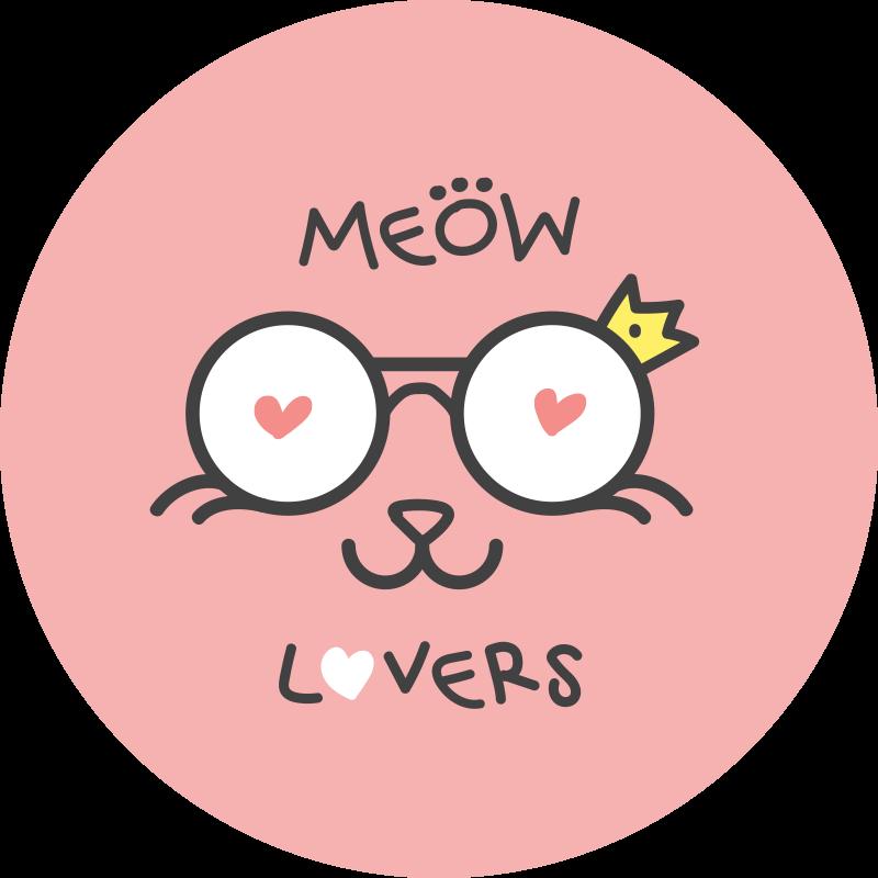 TenStickers. Dywan winylowy Uroczy kotek w koronie. Dywan z winylu w kolorze różowym dla dzieci, przedstawiający szczęśliwego miauczącego kota. Dywan winylowy dla dzieci dla miłośników kotów, trwała i łatwy w utrzymaniu.