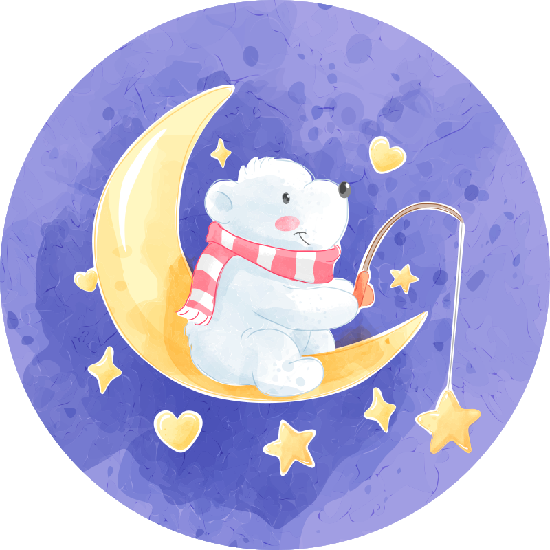 TenStickers. αρκούδα ψαρέματος σκανδιναβικό στυλ χαλί για παιδιά. σκανδιναβικό χαλί βινυλίου με σχέδιο χαριτωμένης αρκούδας που κάθεται στο μισοφέγγαρο, ψαρεύει και απολαμβάνει την παρουσία αστεριών και μορφών καρδιάς γύρω από αυτό.