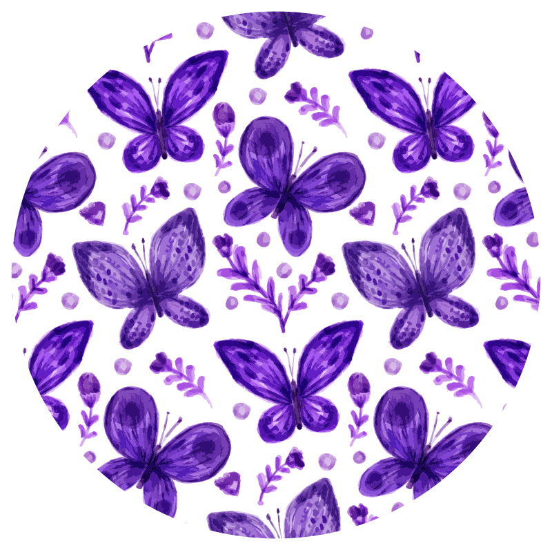 TenStickers. Purple butterflies flying kids vinyl carpet. With our original purple flying butterflies vinyl carpet you would be creating a comfortable and lovely surface for your kids to play and relax on.