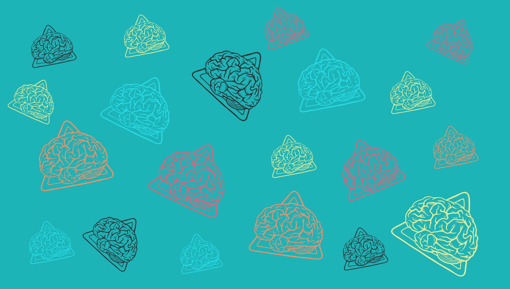 TenVinilo. Alfombra vinilo moderna patrón cerebros azul. ¡Una alfombra vinilo moderna de dibujos animados maravillosamente colorida con muchos cerebros! Regístrese en línea para obtener un 10% de descuento