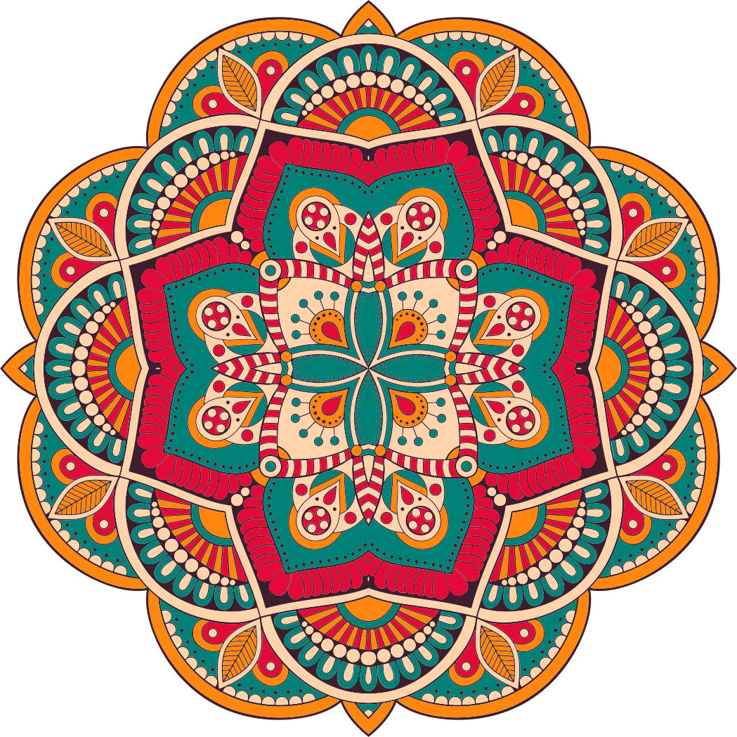TenStickers. Dywan winylowy mandala marokańska . Dywan winylowy z marokańskiej mandali. Przedstawia kwiatową ozdobną mandalę w kolorach czerwonym, zielonym i orage. Wykonane z wysokiej jakości winylu.