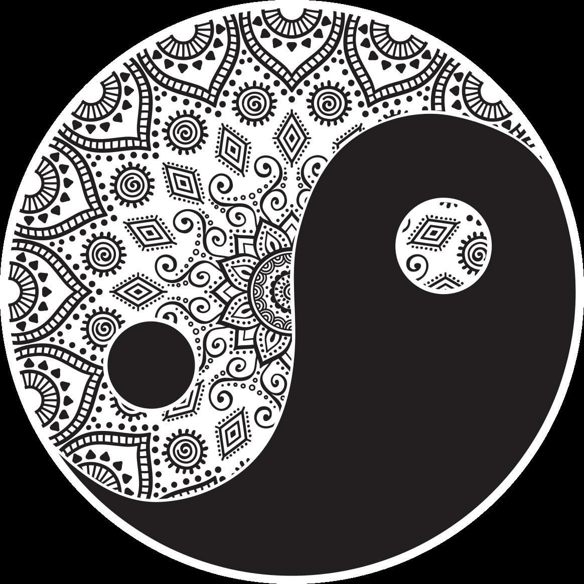 TenVinilo. Alfombra vinilo mandala yin yang. Alfombra vinilo mandala  ying yang en forma redonda. El patrón muestra una forma ornamental de ying yang. Es fácil de limpiar y mantener