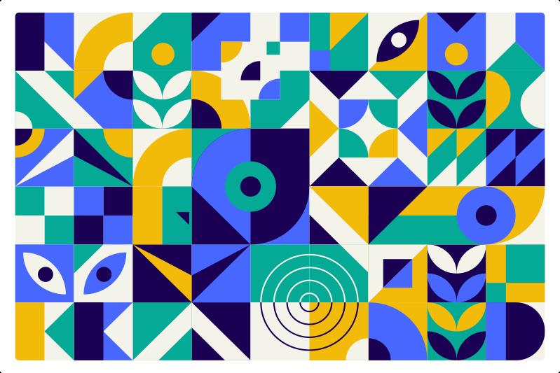 TenVinilo. Alfombra vinilo patrón colores moderno. Alfombra vinílica moderna con motivos geométricos de colores. El patrón muestra diferentes formas en colores verde, azul, amarillo y blanco.