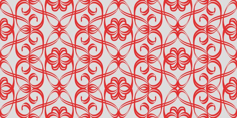 TenVinilo. Alfombra vinilo moderna líneas grises y rojas. Alfombra vinilo moderna ornamental rojo. El patrón muestra diferentes líneas onduladas sobre un fondo gris ¡Hecha de material de alta calidad!