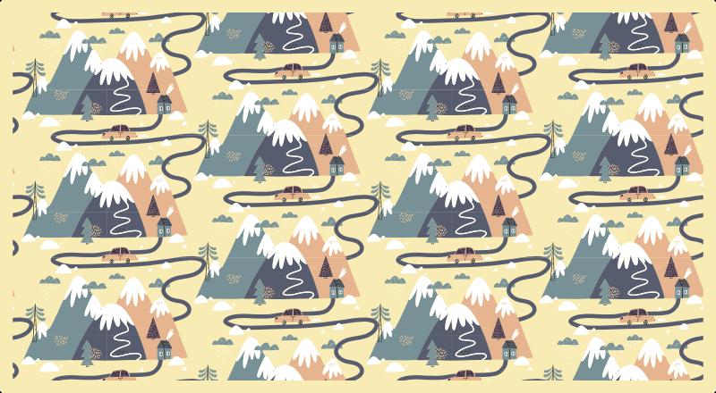 TenVinilo. Alfombra vinilo infantil carretera nórdica. Alfombra vinilo infantil que presenta un patrón de montañas de dibujos animados con nieve en la parte superior con pequeñas carreteras
