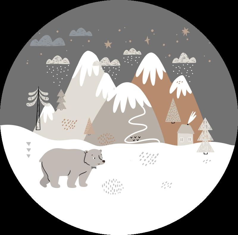 TenVinilo. Alfombra vinilo nórdica paisaje Polo norte. Sorprende a tu hijo con esta alfombra vinilo nórdica de animales de estilo nórdico y haz que tus hijos te agradezcan por su diseño genial