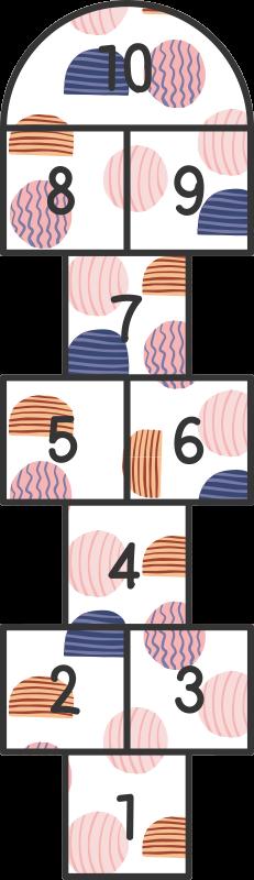 TenVinilo. Alfombra vinilo juego rayuela con topos. Alfombra vinilo juego que presenta un clásico juego de rayuela con círculos en el interior. Materiales de alta calidad utilizados ¡Hecho a medida!