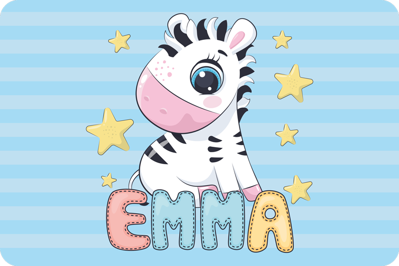 TenStickers. Cute Zebra and Stars with name vinyl mat. Decorate your kid's room with this personalized baby zebra and stars vinyl rug with blue shades stripes as background in a squared shape.